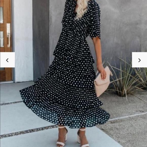 Polka dot tiered midi dress - Small